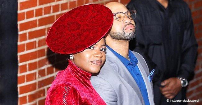 Fantasia Flaunts Stunning Figure in Red Velvet Dress & Matching Hat in Recent Pic with Husband