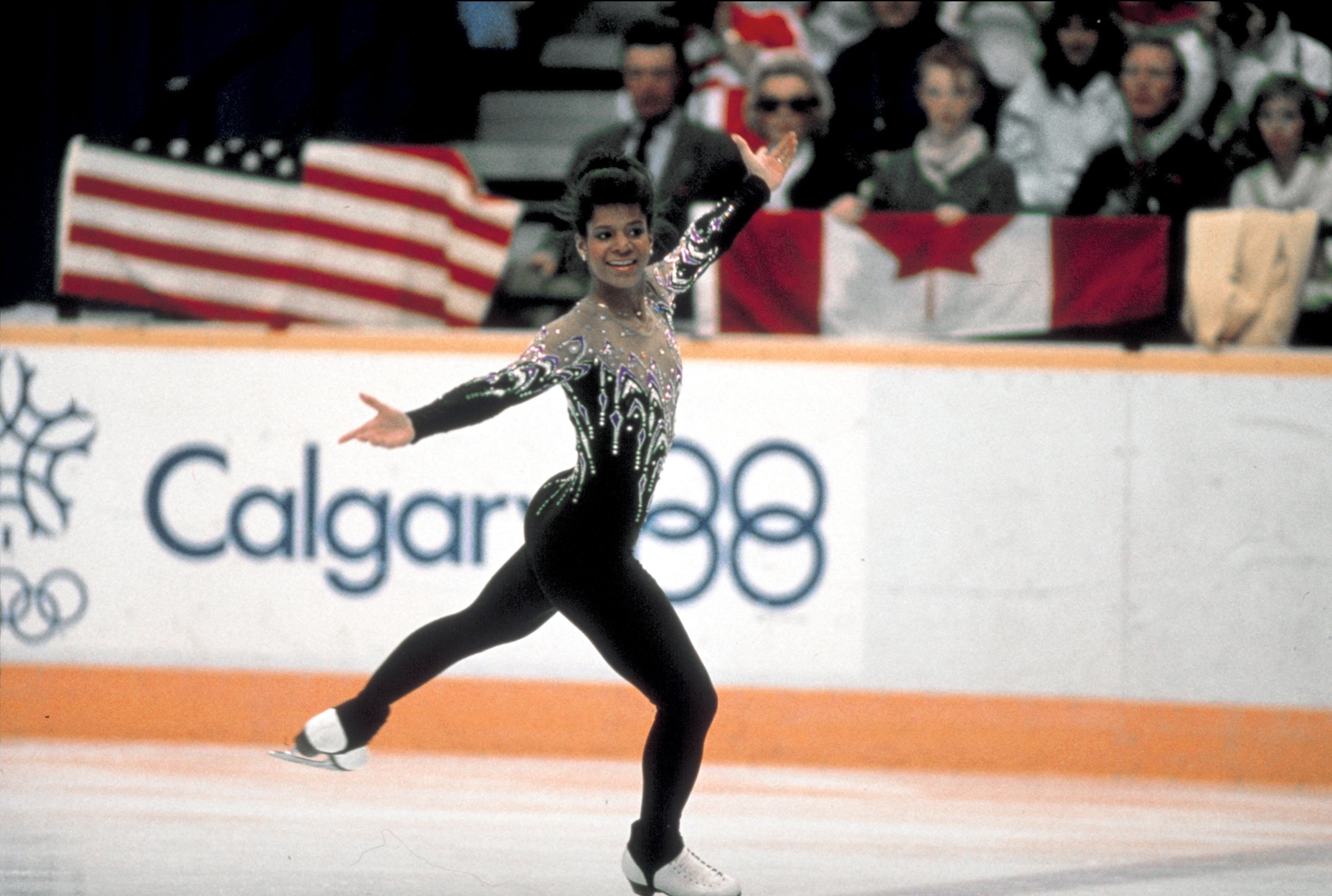 Figure skater  Debi Thomas competing in unident. event at 1988 Winter Olympics. | Photo: GettyImages