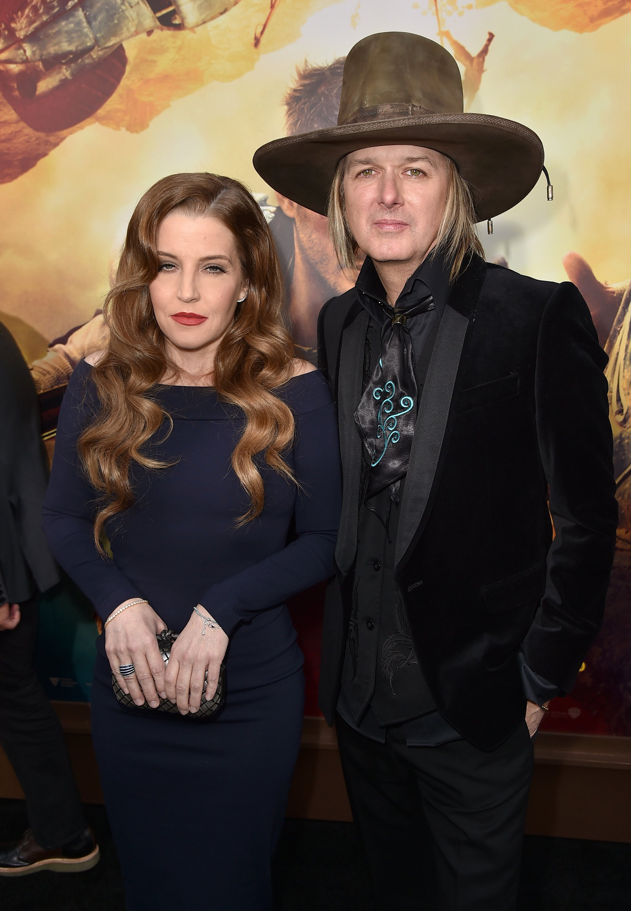 "Lisa Marie Presley and musician Michael Lockwood attend the premiere of ""Mad Max: Fury Road"" on May 7, 2015, in Hollywood, California. 