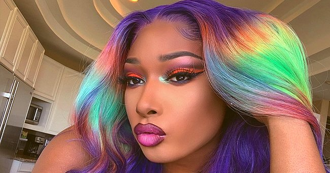 Megan Thee Stallion Rocks Rainbow Wig and Bright Makeup in a Post Honoring Pride Month