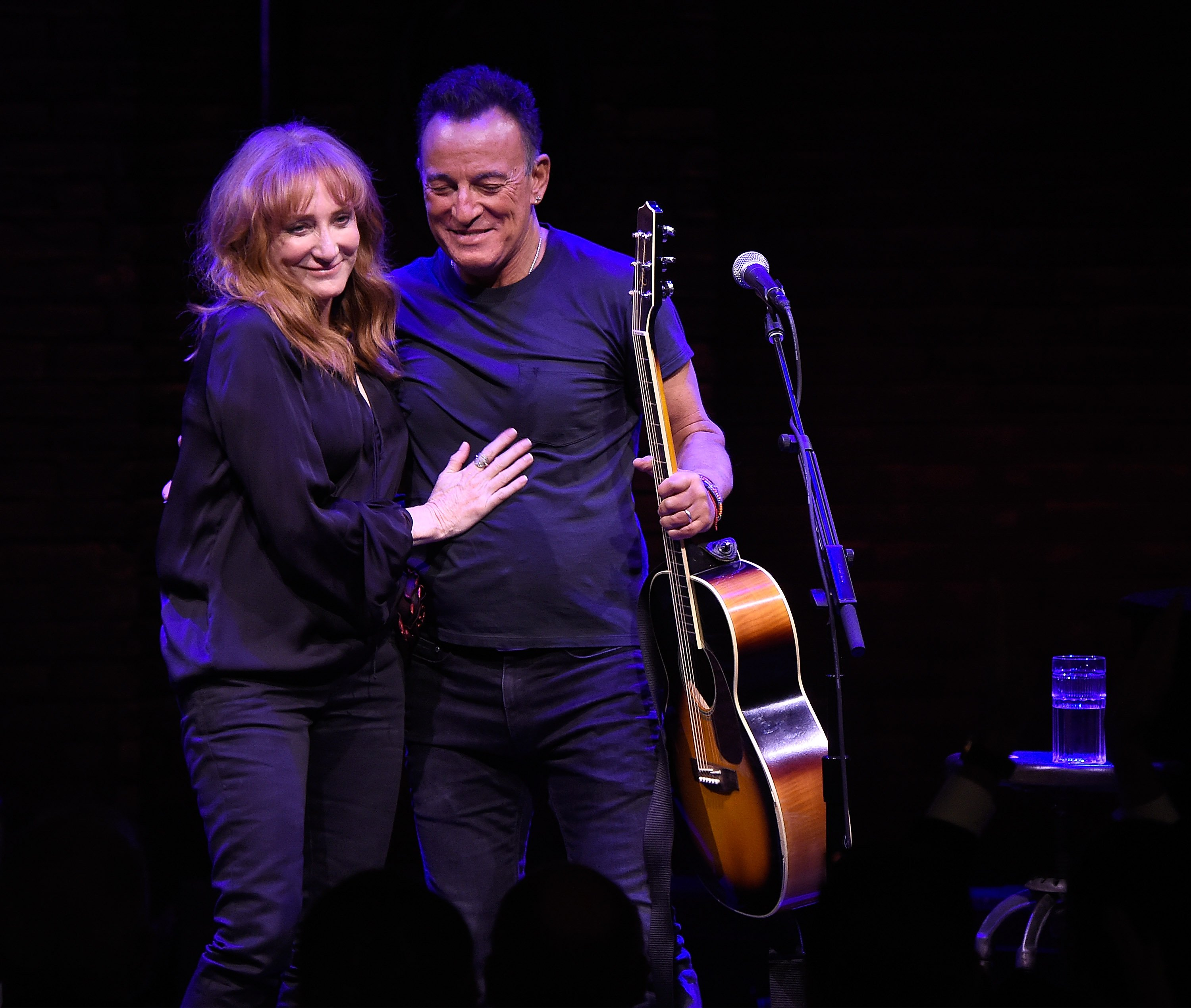 "Patti Scialfa and Bruce Springsteen onstage during ""Springsteen On Broadway"" at Walter Kerr Theatre on October 12, 2017, in New York City. 