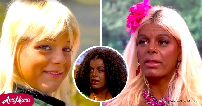 Woman changes her skin to a dark brown color and looks unrecognizable