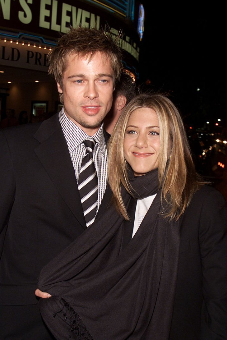 "Brad Pitt and Jennifer Aniston at the premiere of ""Ocean's Eleven"" at the Village Theater in Los Angeles, Ca. Wednesday, December 5, 2001. 