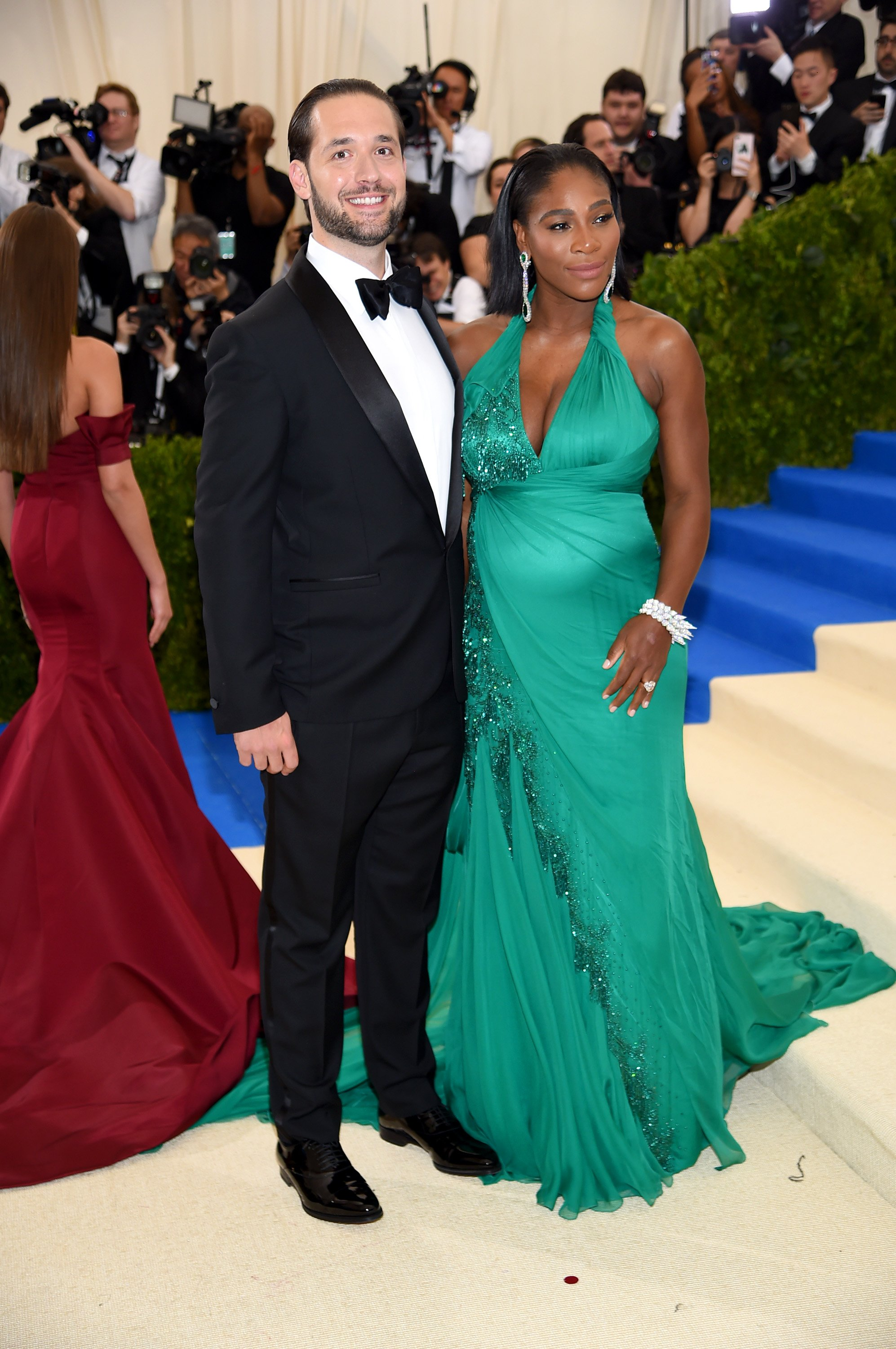 """Alexis Ohanian and Serena Williams pictured at  the """"Rei Kawakubo/Comme des Garcons: Art Of The In-Between"""" Costume Institute Gala at Metropolitan Museum of Art, 2017, New York City. 