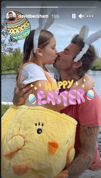 David Beckham donning matching bunny ears with Harper while they shared a kiss | Photo: Instagram / davidbeckham