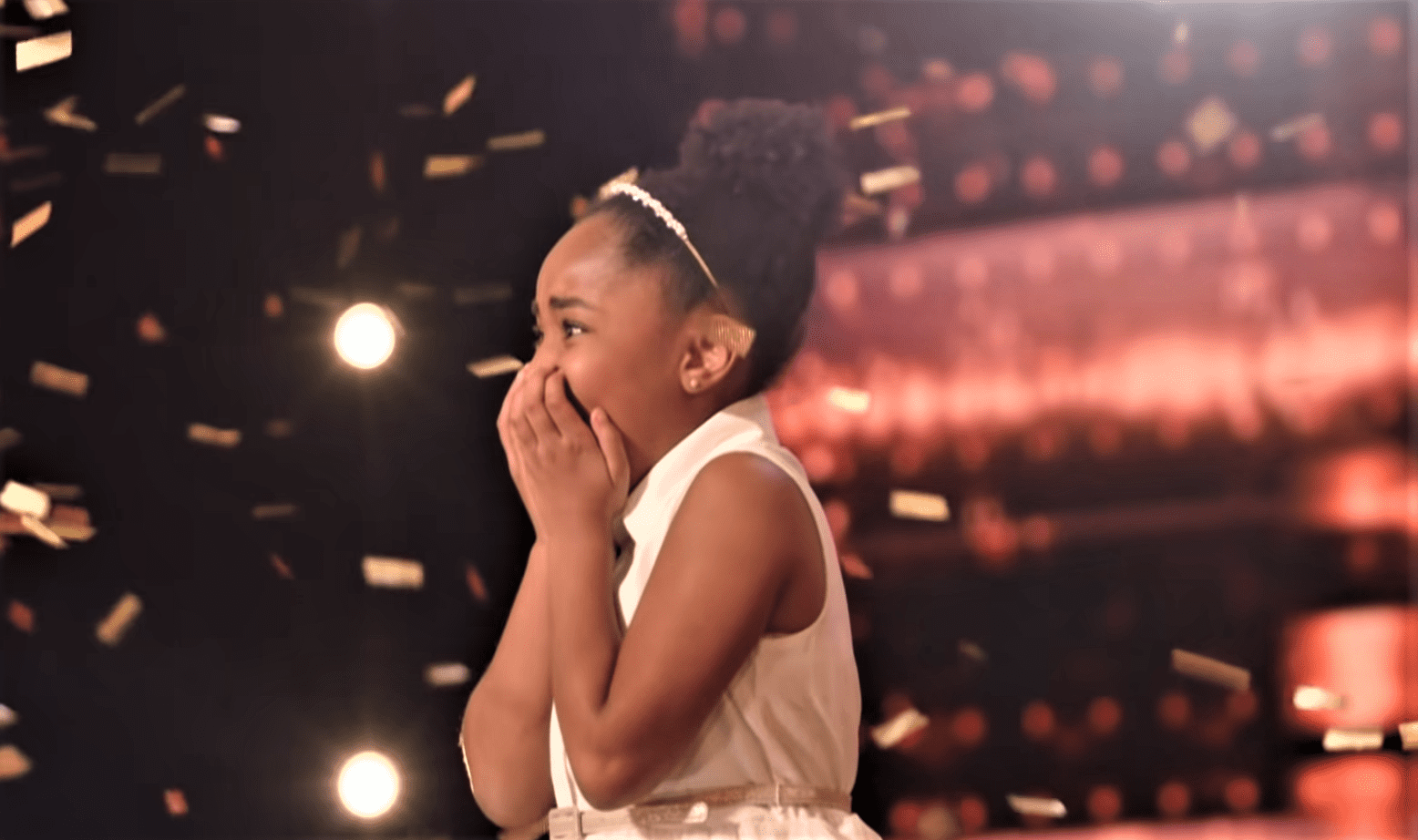 """9-year-old Victory Brinker's emotional reaction after she received 4 Golden Buzzers at """"America's Got Talent.""""   Source: youtube.com/America's Got Talent"""