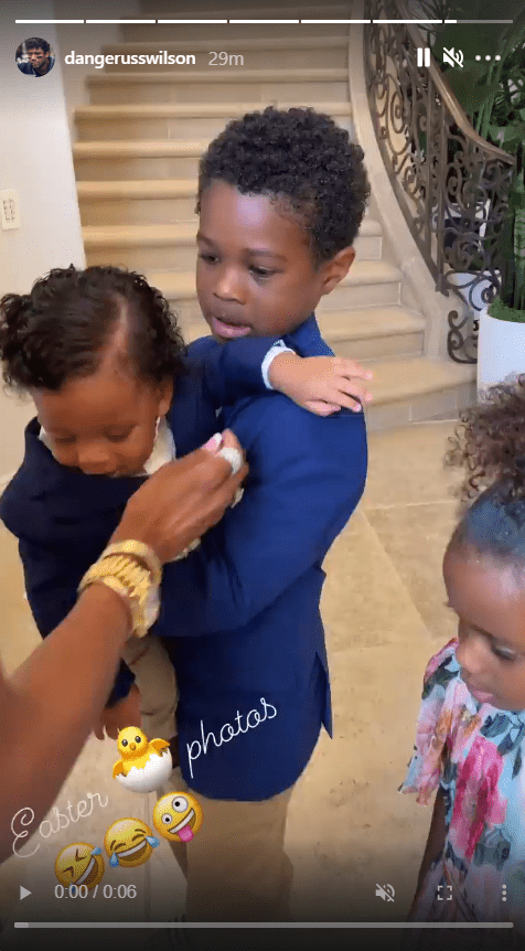 A screenshot from a clip Ciara shared of her sons Future and Win, and her daughter Sienna, on her Instagram story | Photo: Instagram.com/ciara
