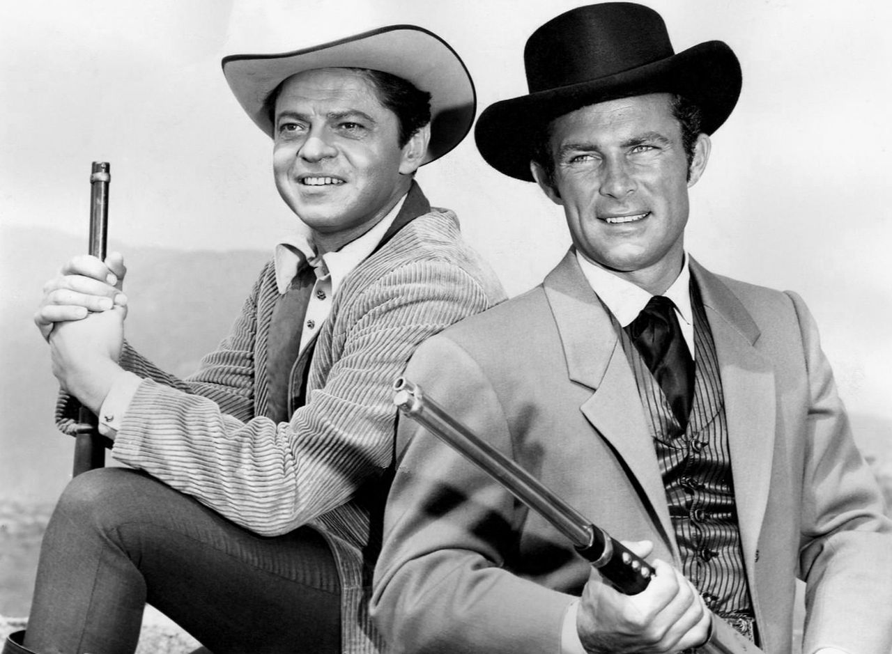 """Ross Martin as Artemus Gordon and Robert Conrad as James West from the television program """"The Wild, Wild West,"""" circa 1960s. 