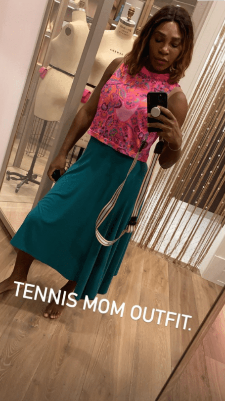 Serena Williams showing off her tennis mom outfit in a photo.  | Photo: Instagram/Serenawilliams