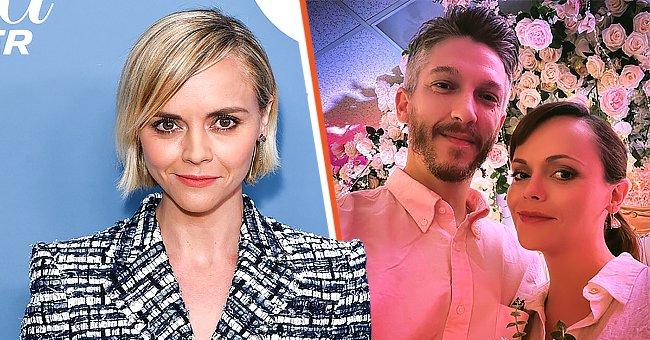 On the left: Christina Ricci at The Hollywood Reporter's Power 100 Women In Entertainment on December 05, 2018 in Los Angeles, California. On the right: Ricci and her husband, Mark Hampton, on their wedding day | Photo: Getty Images | Instagram.com/riccigrams