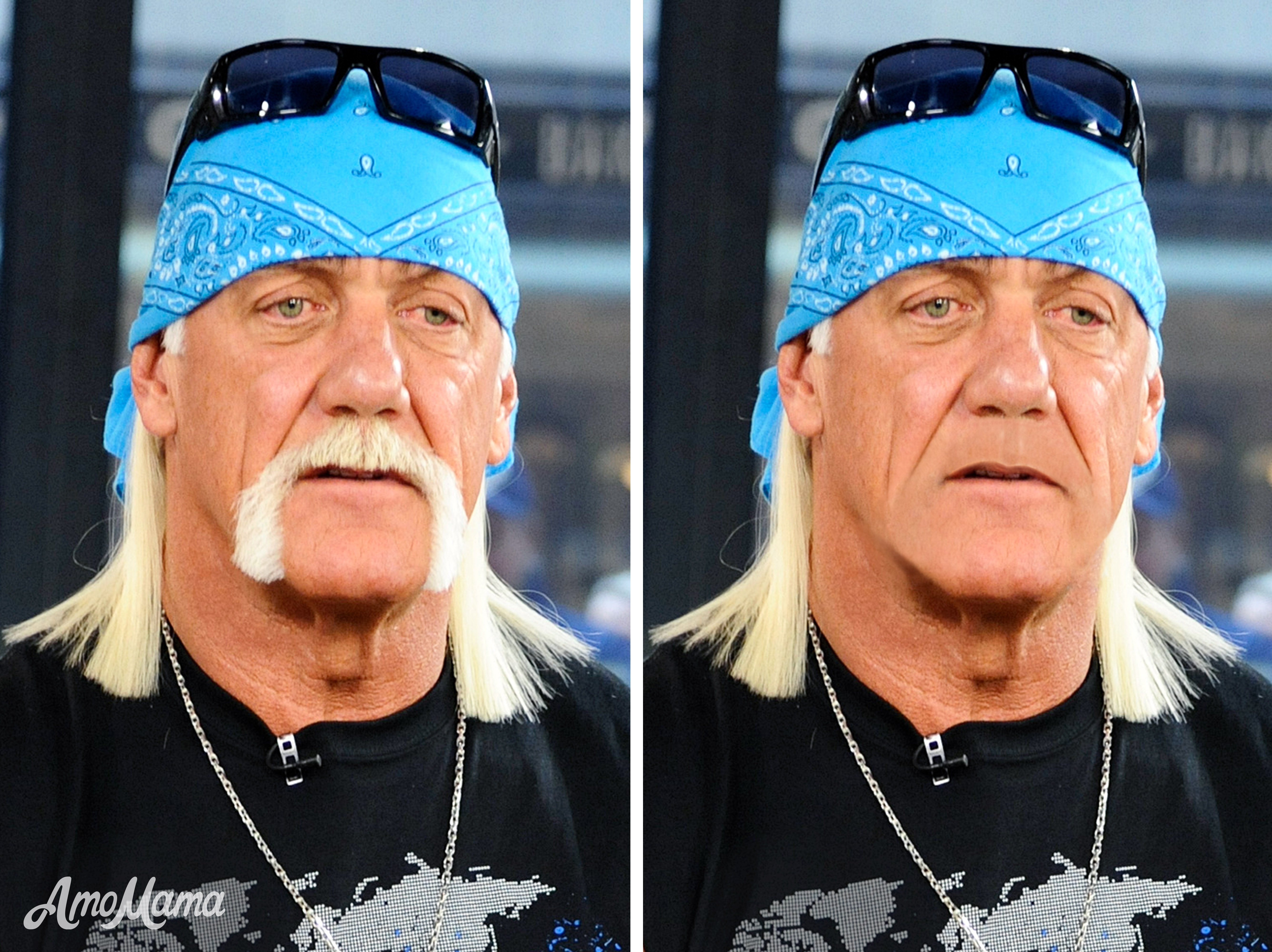 Hulk Hogan's before and after moustache look | Photo: Getty Images