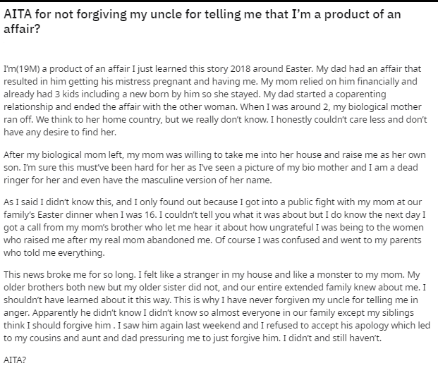 Whole story of the Reddit user who refuses to forgive his uncle | Photo: Reddit/u/blackforcesarecool