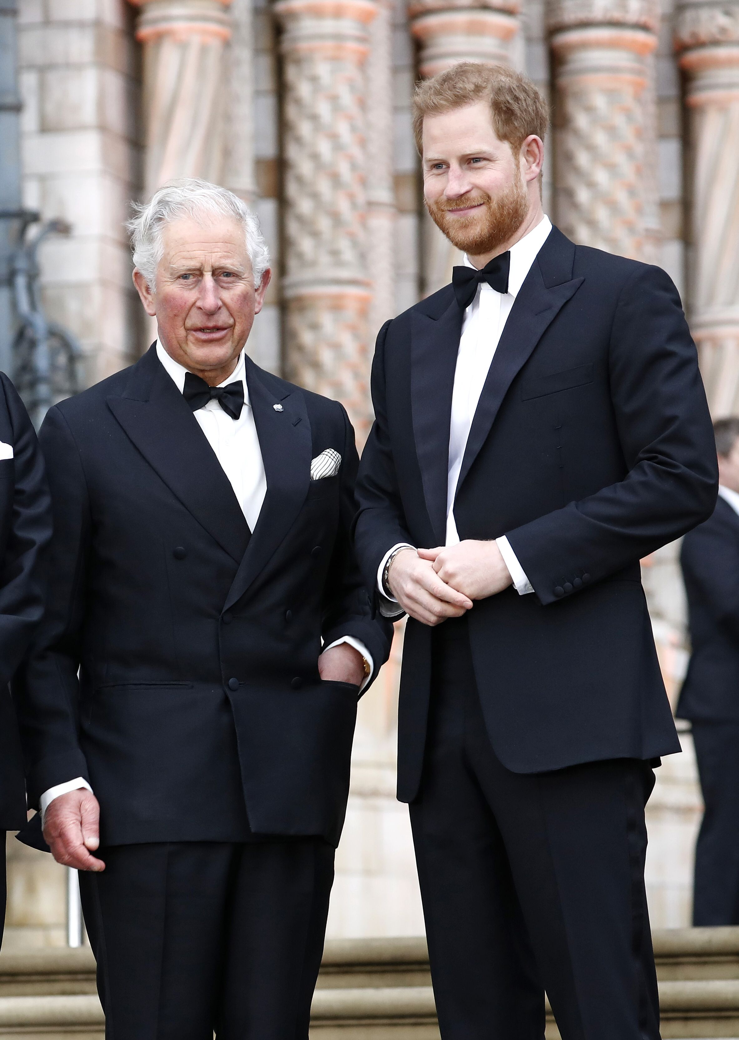 """Prince Charles, Prince of Wales and Prince Harry, Duke of Sussex attend the """"Our Planet"""" global premiere the at the Natural History Museum on April 04, 2019 in London, England. 