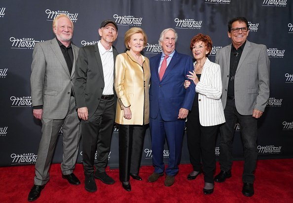 """Don Most, Ron Howard, Barbara Marshall, Henry Winkler, Marion Ross and Anson Williams attend Garry Marshall Theatre's 3rd Annual Founder's Gala Honoring Original """"Happy Days"""" Cast at The Jonathan Club   Photo: Getty Images"""