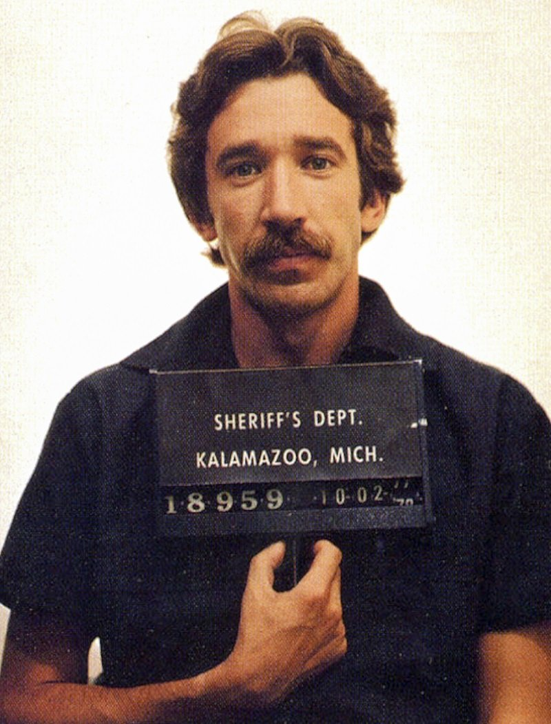 Tim Allen in a mug shot following his arrest for cocaine possession, Kalamazoo, Michigan, US, October 2, 1978 | Photo: Getty Images