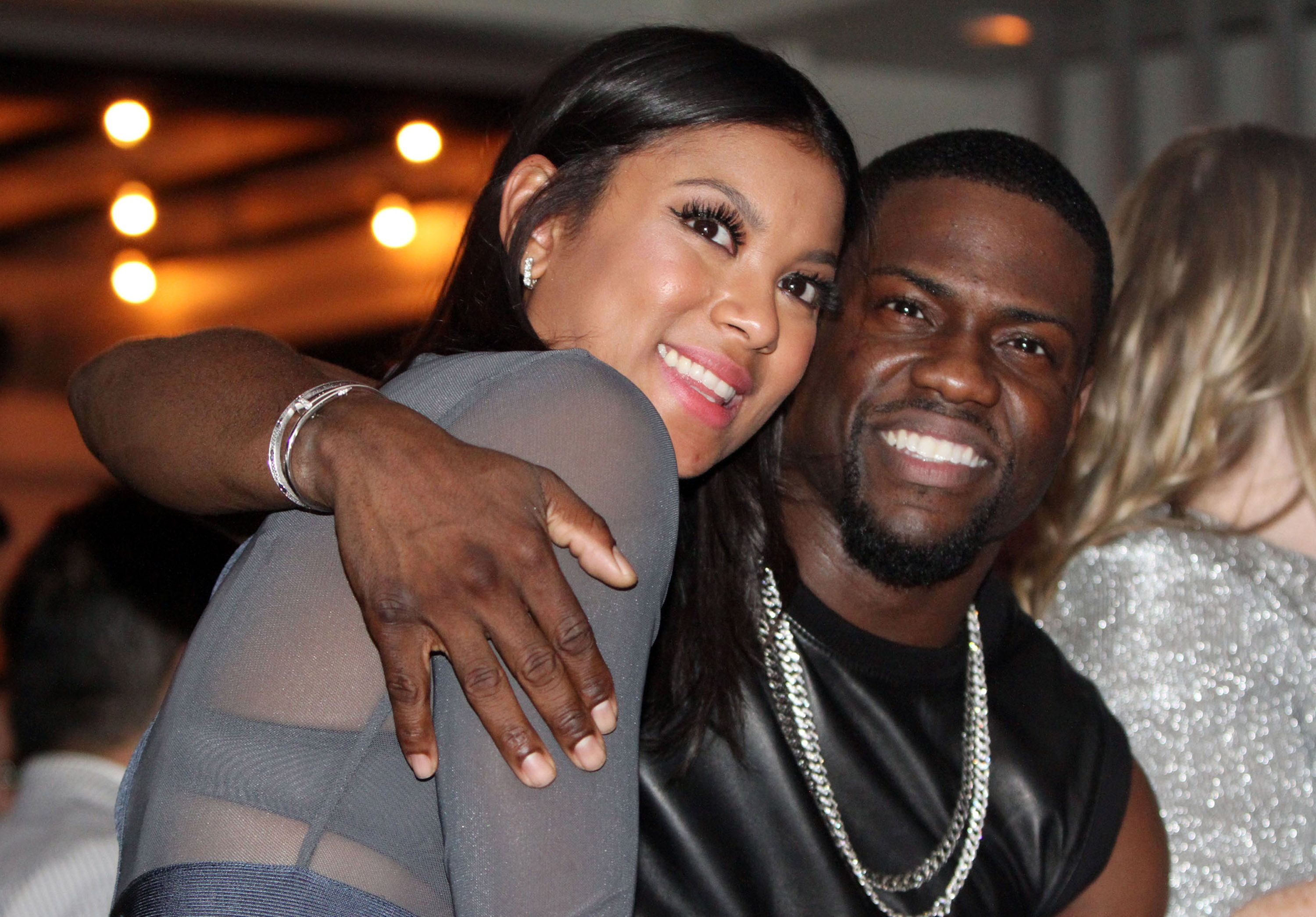 Kevin Hart and his fiancee Eniko Parrish at the Kevin Hart Pre Super Bowl Party hosted by NuFace Ent. at The Culture Pearl on January 31, 2015 | Photo: Getty Images