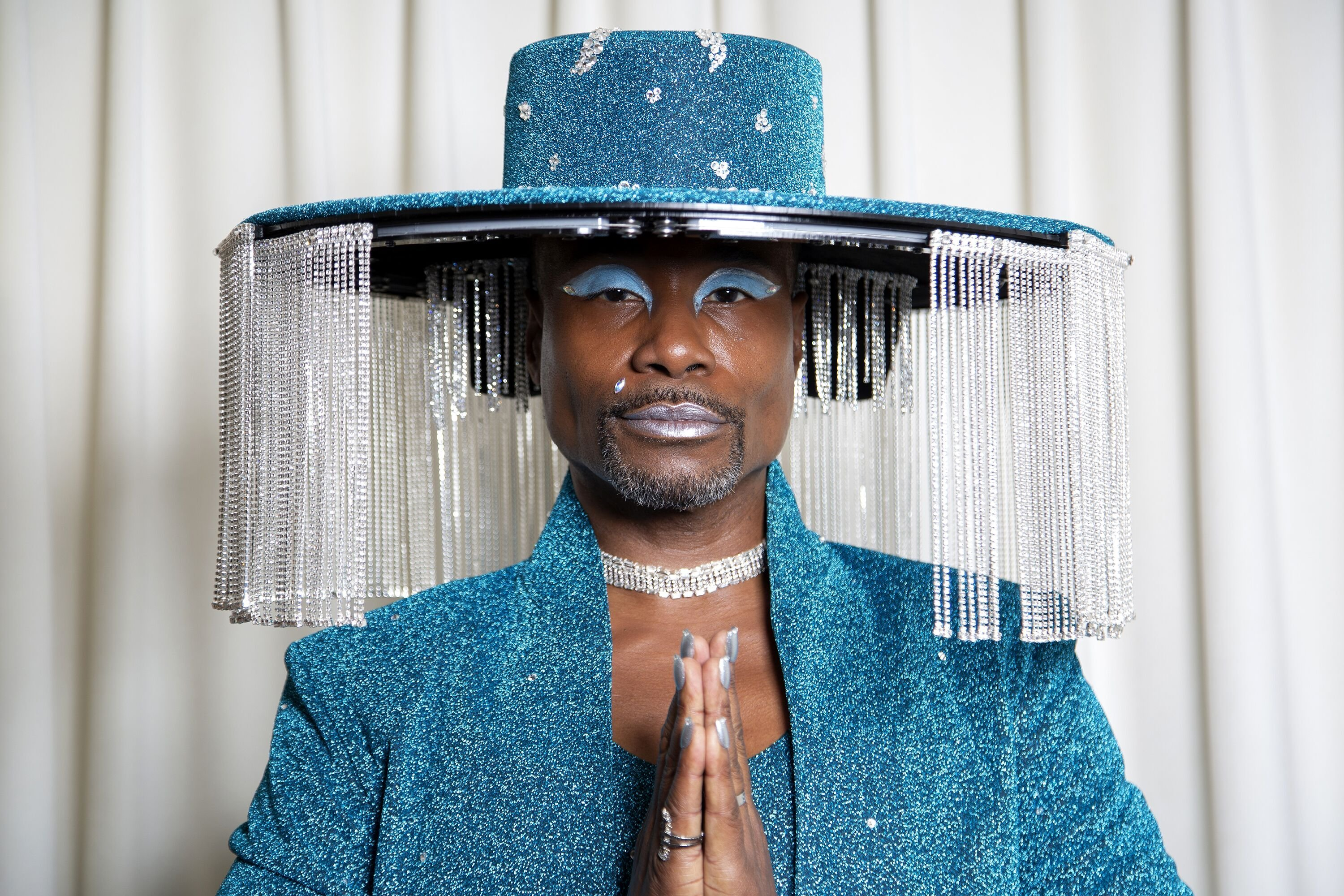 Billy Porter gets ready for The 62nd Annual GRAMMY Awards styled by Sam Ratelle, wearing BAJA EAST and custom hat by Sarah Sokol Millinery on January 26, 2020 in Los Angeles, California | Photo: Getty Images