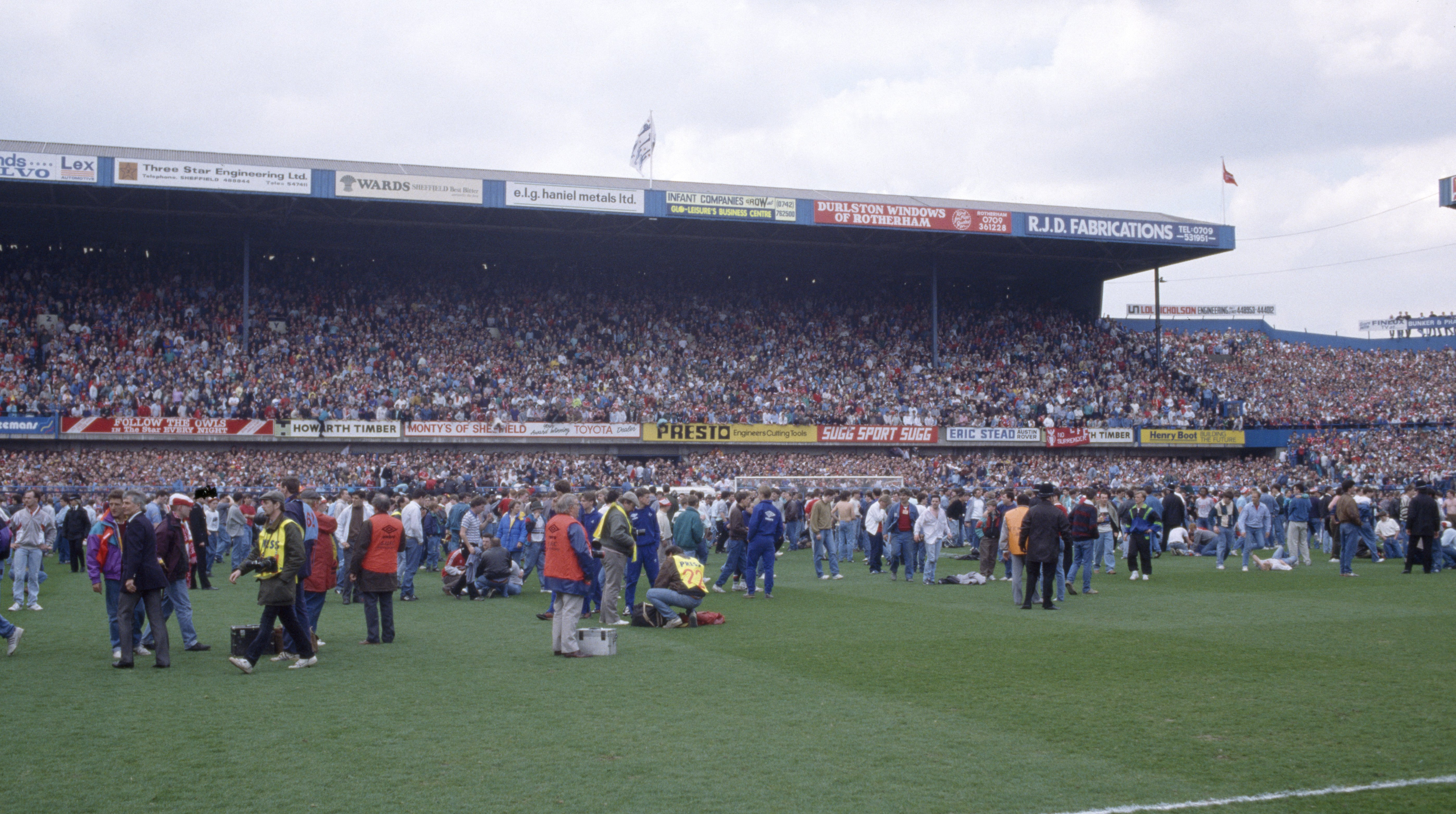 Wide view of the scene unfolding of the disaster during the FA Cup Semi Final on April 15, 1989 in Sheffield, England. | Source: Getty Images