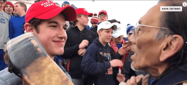 Nickolas Sandmann and Nathan Phillips on the steps of the Lincoln Memorial on January 18, 2019.  Photo: YouTube/TODAY