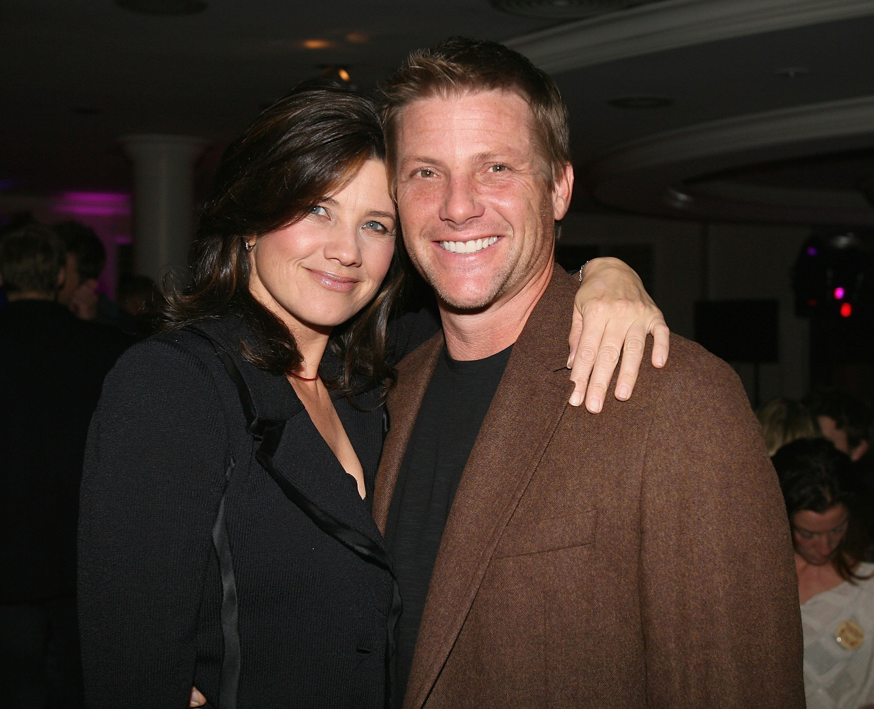 "Daphne Zuniga and actor Doug Savant at the ""Beverly Hills 90210 The Complete First Season"" DVD party 