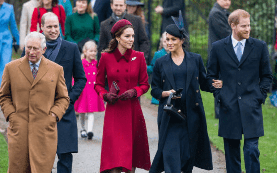 Prince Charles, Prince William, Kate Middleton, Meghan Markle and Prince Harry arrive at the Christmas Day Church service at Church of St Mary Magdalene on the Sandringham estate, on December 25, 2018 ,in King's Lynn, England | Source: Getty Images (Photo by Samir Hussein/Samir Hussein/WireImage)