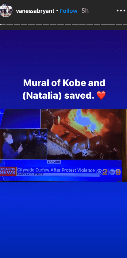 Vanessa shares the photo of saved mural of Kobe and Natalia on her Instagram story. | Photo: Instagram/vanessabryant