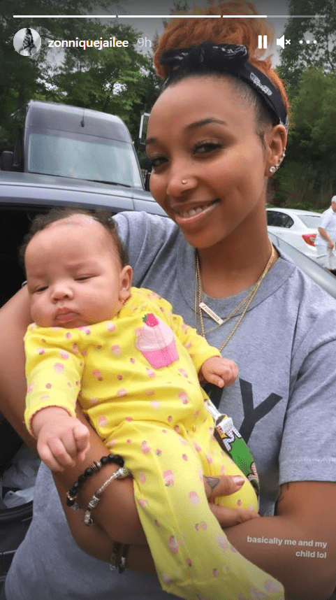 Image of Zonnique Pullins' daughter sleeping peacefully in her arms   Photo: Instagram/zonniquejailee