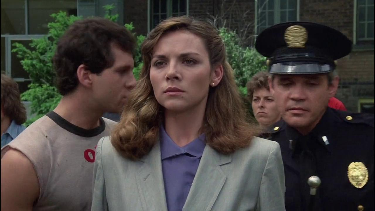 "Actress Kim Cattrall on the set of ""Police Academy"" 
