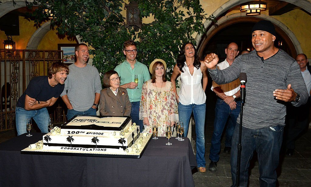 "Eric Christian Olsen, Chris O'Donnell, Linda Hunt, Barrett Foa, Renee Felice Smith, Daniela Ruah, Miguel Ferrer und L.L. Cool J beim ""NCIS: Los Angeles"" von CBS 