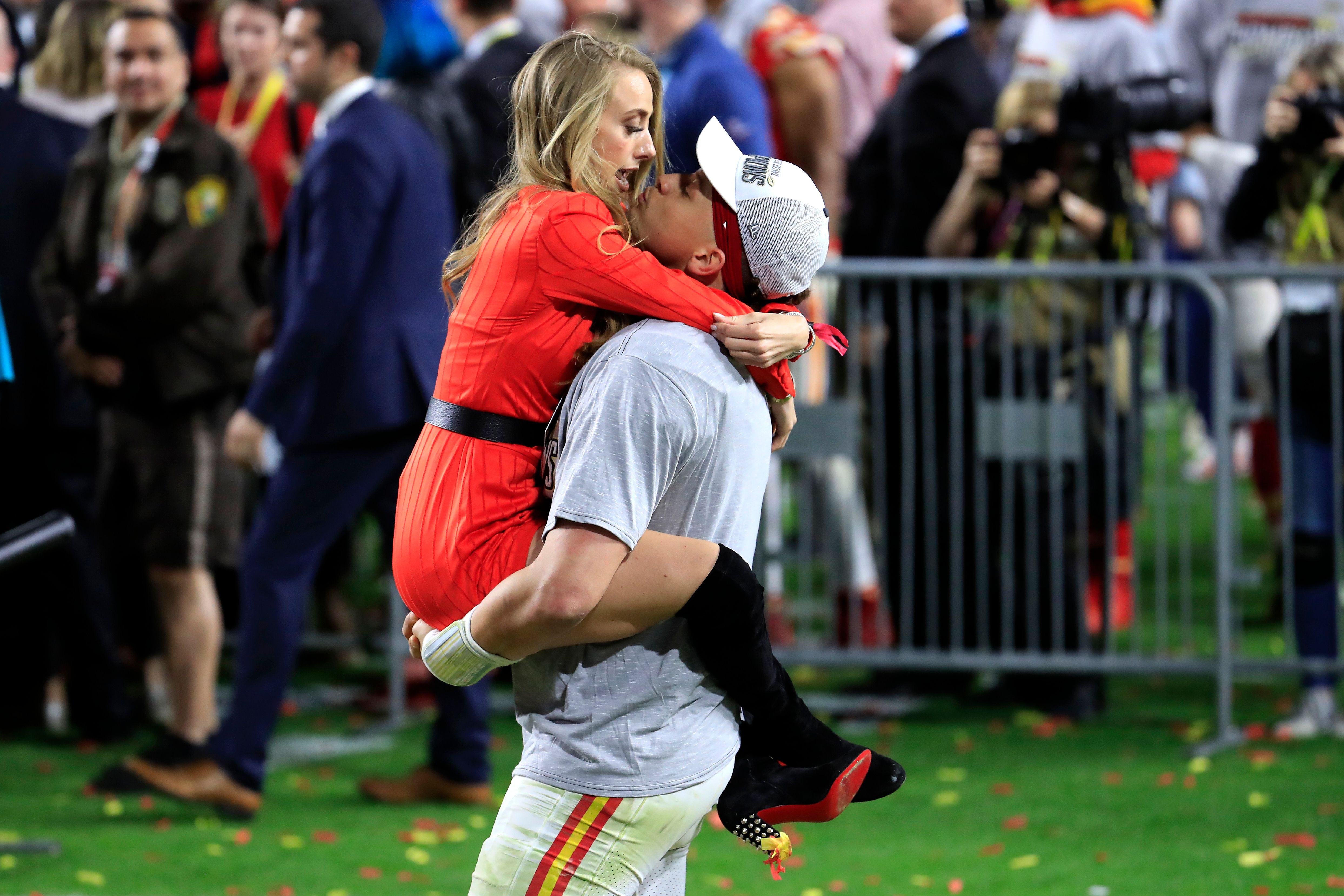 Patrick Mahomes celebrates with girlfriend, Brittany Matthews, after winning the 2020 Super Bowl in Miami | Source: Getty Images