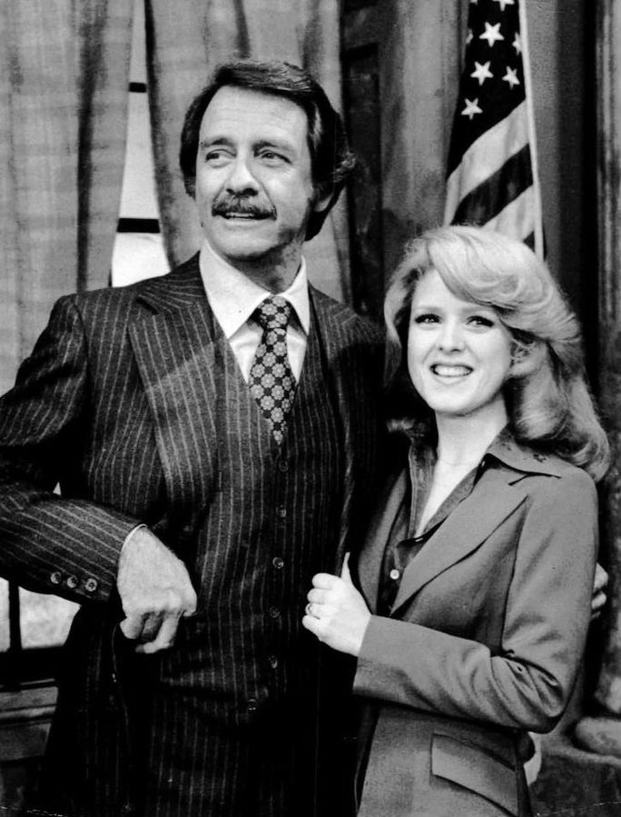 "Richard Crenna and Bernadette Peters from the television program ""All's Fair"" in 1977 