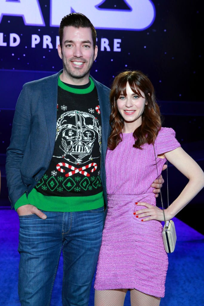 """Jonathan Scott and Zooey Deschanel attend the Premiere of Disney's """"Star Wars: The Rise Of Skywalker"""" on December 16, 2019 