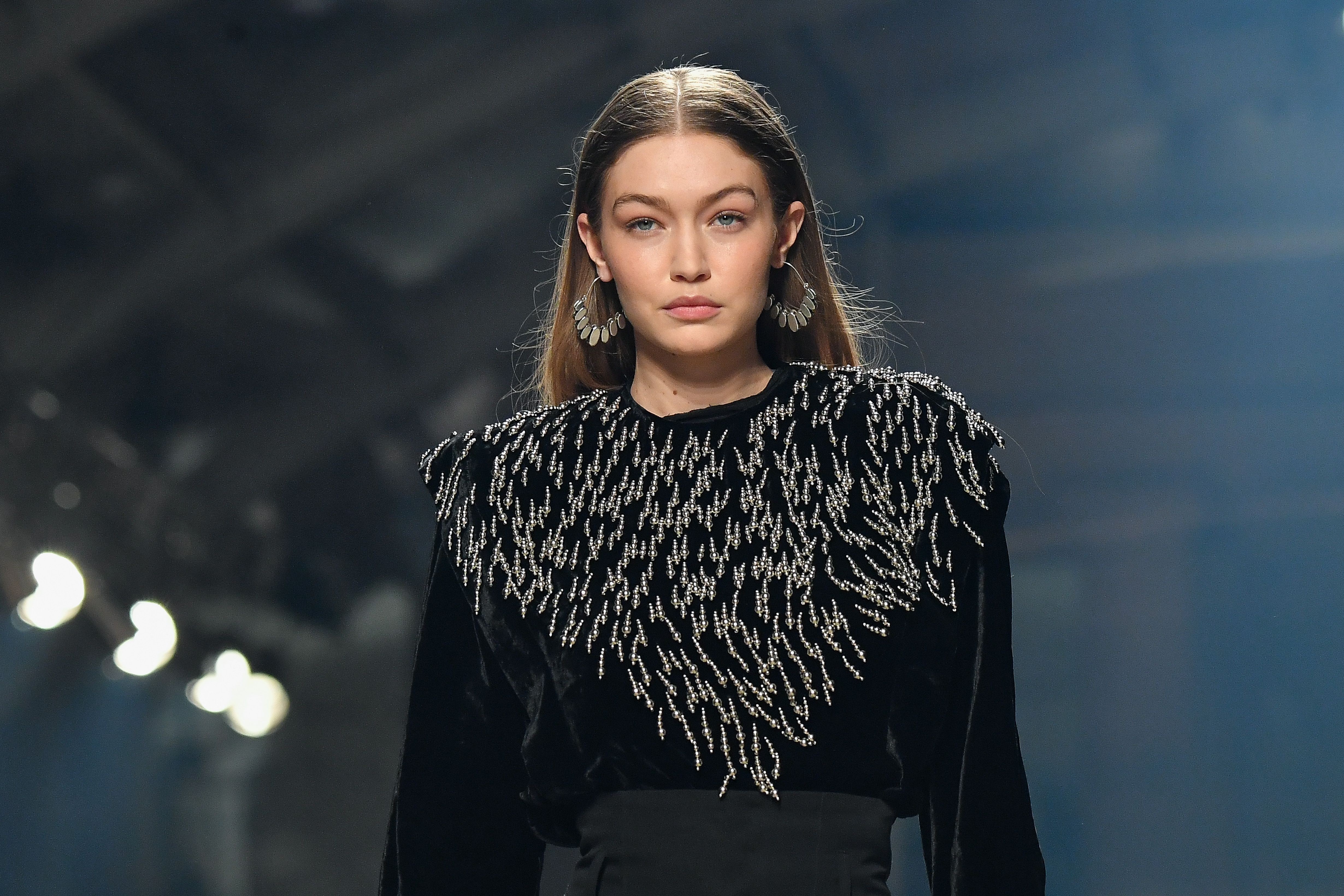 Gigi Hadid walking in the Isabel Marant show at Paris Fashion week on February 27, 2020 | Getty Images