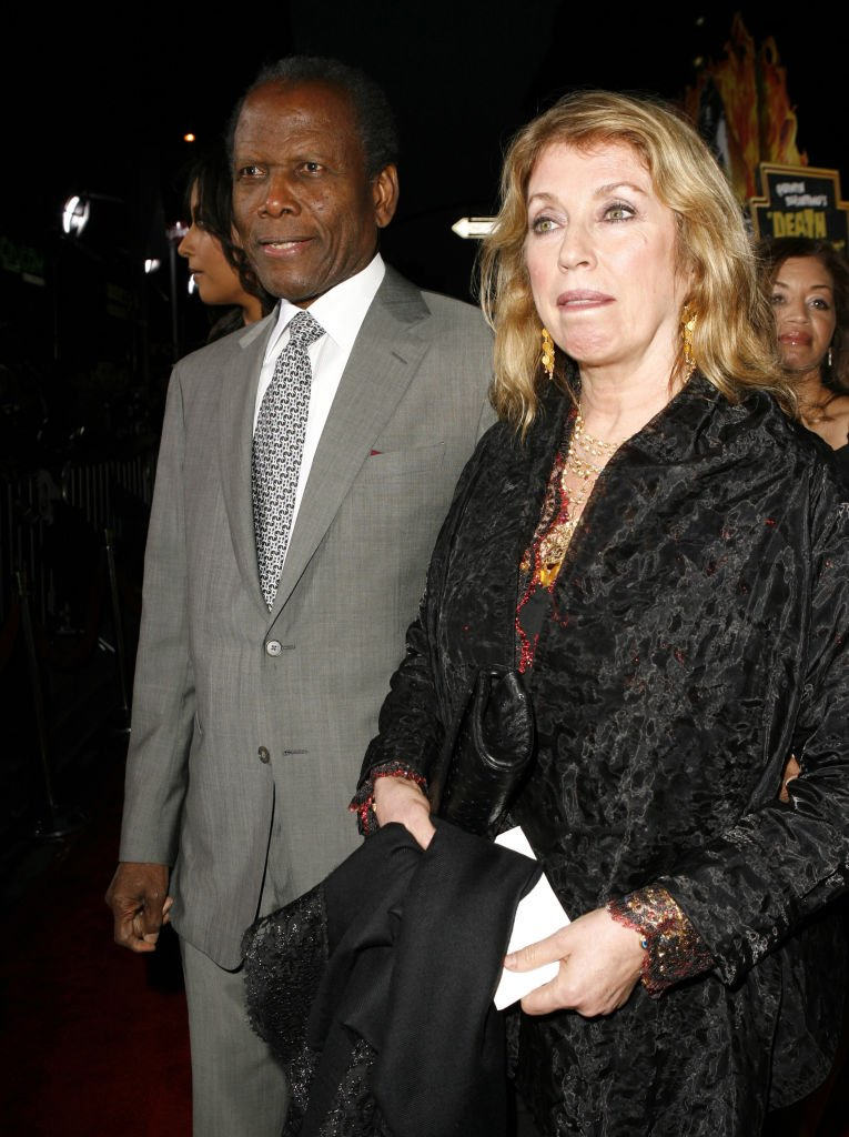 "Sidney Poitier and Joanna Shimkus at ""Grindhouse"" Los Angeles Premiere - Red Carpet at Orpheum Theater on March 26, 2007 