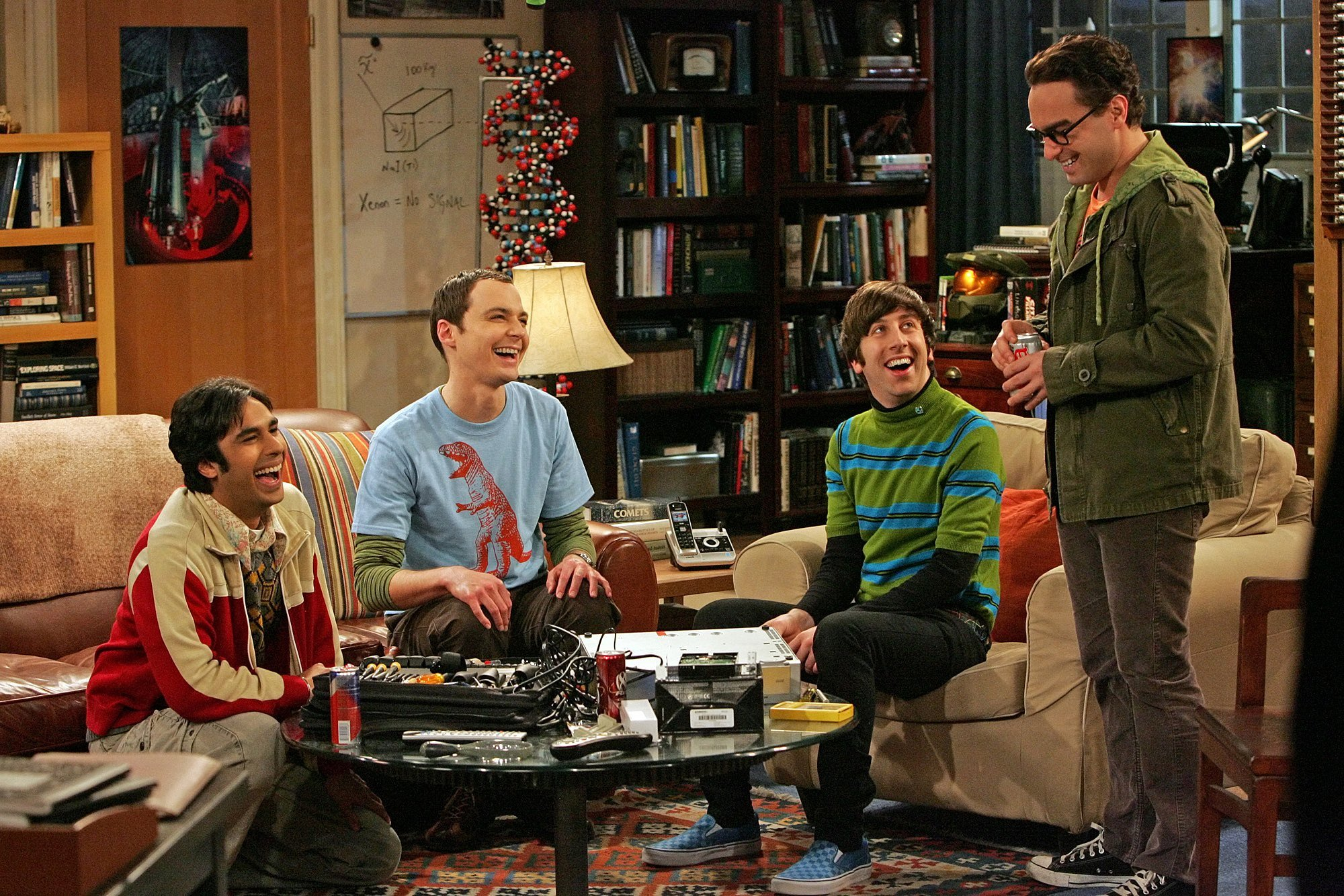 """Simon Helberg in striped shirt acting as Howard Wolowitz in the 2009 """"The Big Bang Theory"""" CBS series.   Photo: Getty Images"""