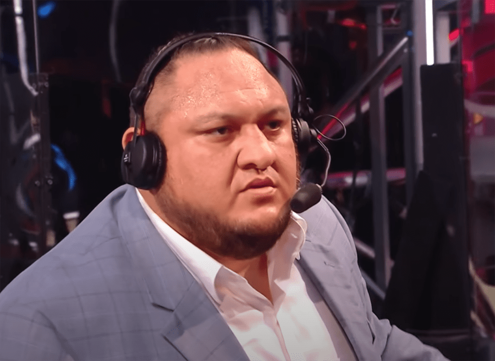 Samoa Joe standing up to fellow wrestler The Monday Messiah during a WWE Raw night in April 2020. I Image: YouTube/ WWE