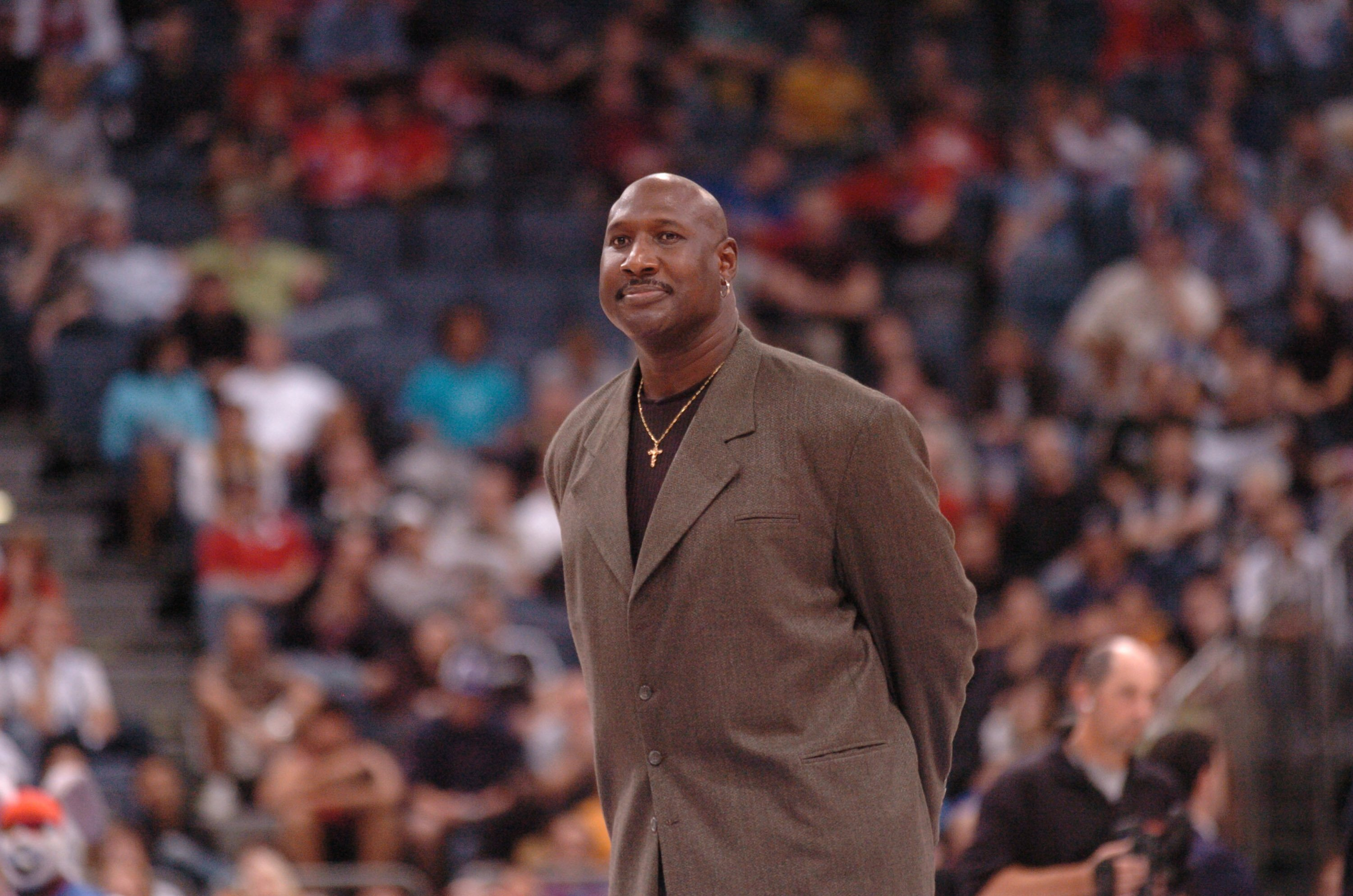 Darryl Dawkins gets introduced to the crowd during the NBA Europe Live Tour presented by EA Sports on October 10, 2006