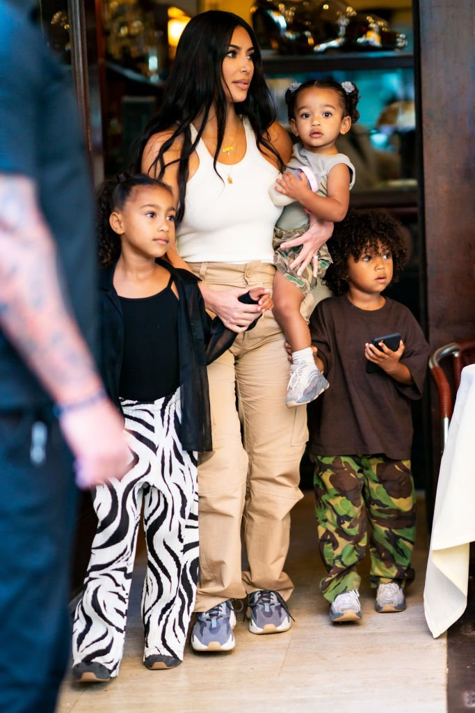 Kim Kardashian is seen with her children North, Saint and Chicago in SoHo, September 2019 | Source: Getty Images