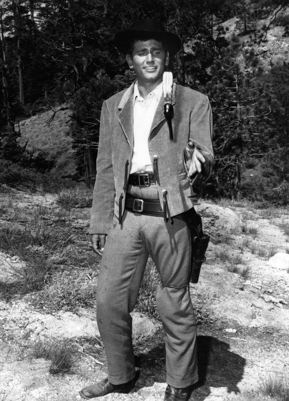 "Michael Landon dressed for his role in ""Bonanza."" 