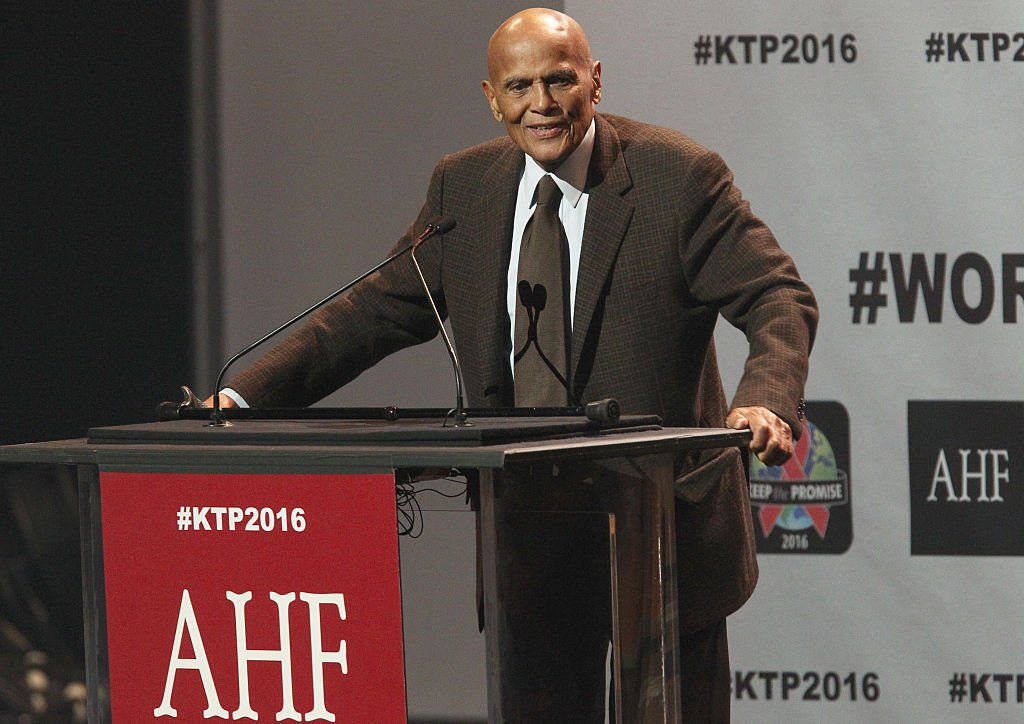 Harry Belafonte speaks onstage at AIDS Healthcare Foundations Keep the Promise Concert at the Dolby Theatre in Hollywood, CA on November 30, 2016.   Photo: Getty Images
