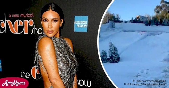 Kim Kardashian covers her California property in faux snow causing a stir among fans