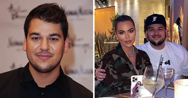 Rob Kardashian presenting his Arthur George Socks Collection at Neiman Marcus Bal Harbour at Neiman Marcus on December 10, 2012 in Miami Beach, Florida (left), and with his sister Khloe Kardashian out on a dinner date (right) | Photo and Instagram/@instagram.com/kimkardashian