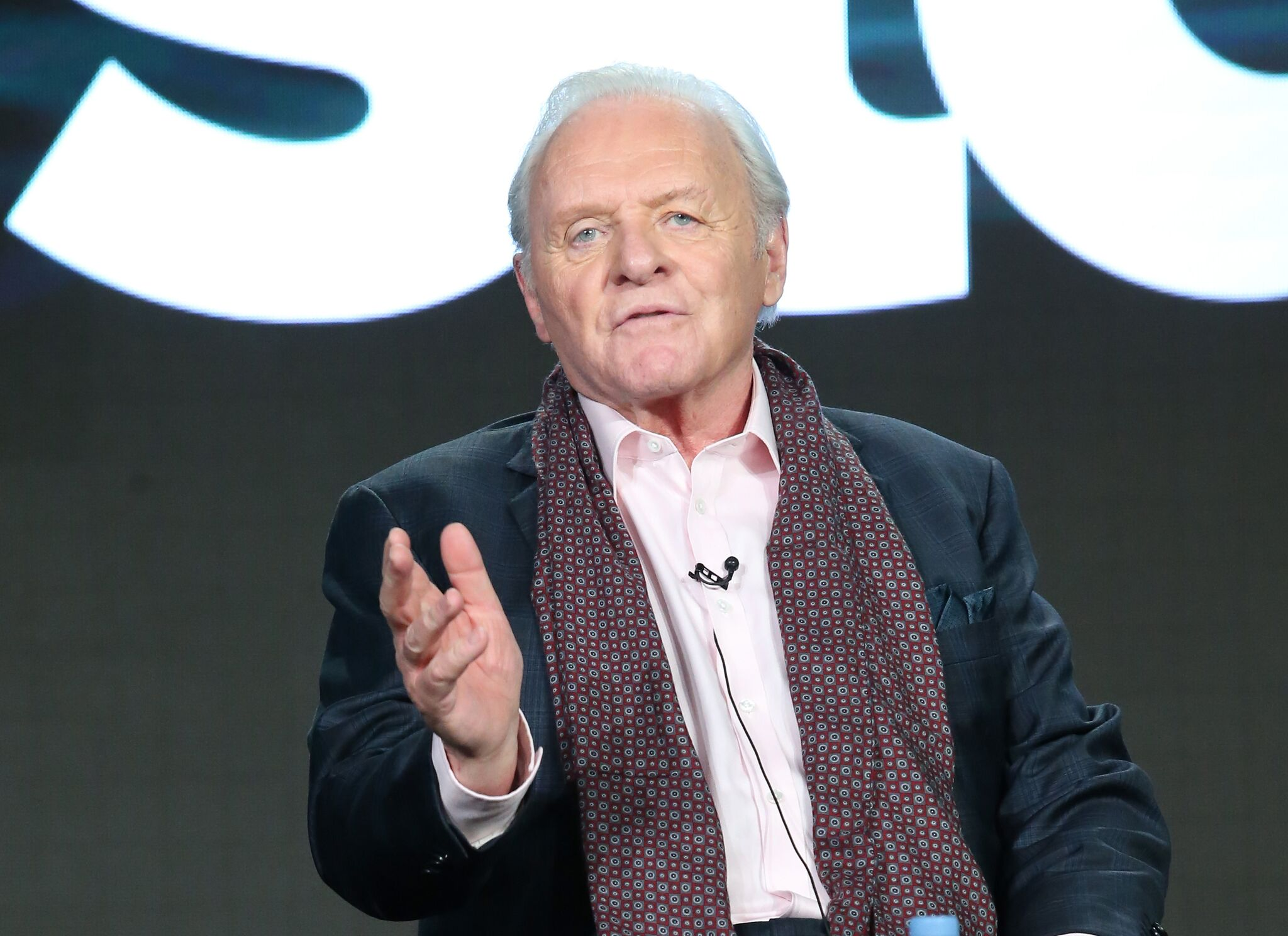 Actor Anthony Hopkins, speaks onstage during The Dresser panel as part of the Starz portion of This is Cable 2016 Television Critics Association Winter Tour | Getty Images