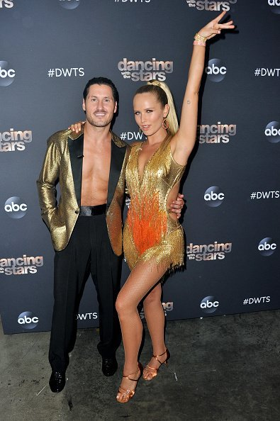 "Valentin Chmerkovskiy and Sailor Brinkley-Cook pose for a photo after the ""Dancing With The Stars 