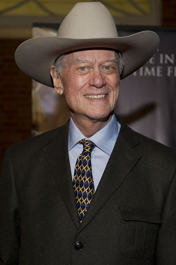"""Larry Hagman arrives for the White Bridle Society's """"Da Vinci, Wine and Roses"""" benefit at Lisa Blue Baron Mansion 
