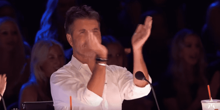 "Simon Cowell clapping for Susan Boyle as she performs on ""America's Got Talent"" at the Dolby Theatre in Hollywood 