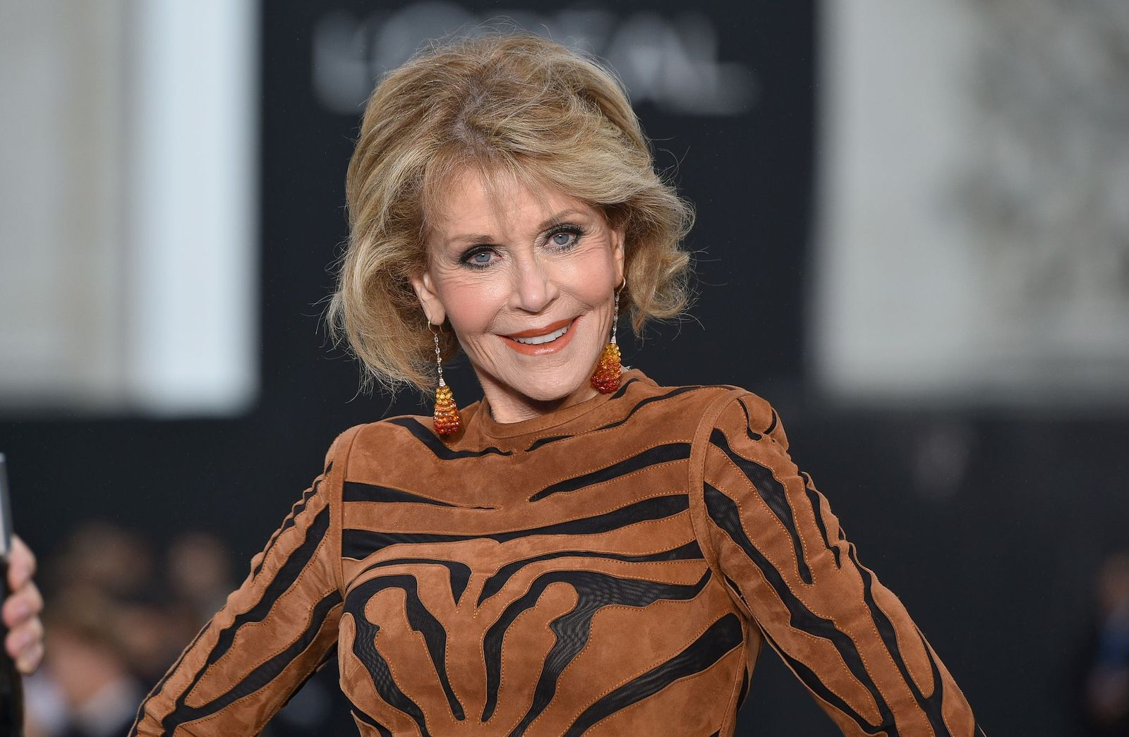 Jane Fonda at the rehearsal before Le Defile L'Oreal Paris as part of Paris Fashion Week Womenswear Spring/Summeron October 1, 2017, in France | Photo:Kristy Sparow/Getty Images