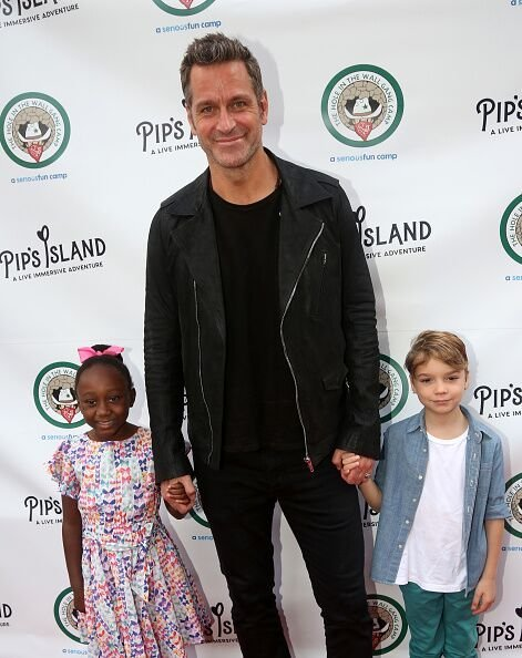"Mariska Hargitay's husband Peter Hermann and two of their children, Amaya and Andrew at the opening night celebration for ""Pip's Island"" in 2019 