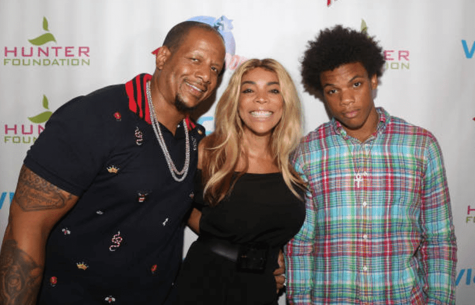 "Kevin Hunter Sr, Wendy Williams and their son, Kevin Hunter Jr pose as a family at an event for ""The Foundation Charity,"" on July 11, 2017, in New York City 
