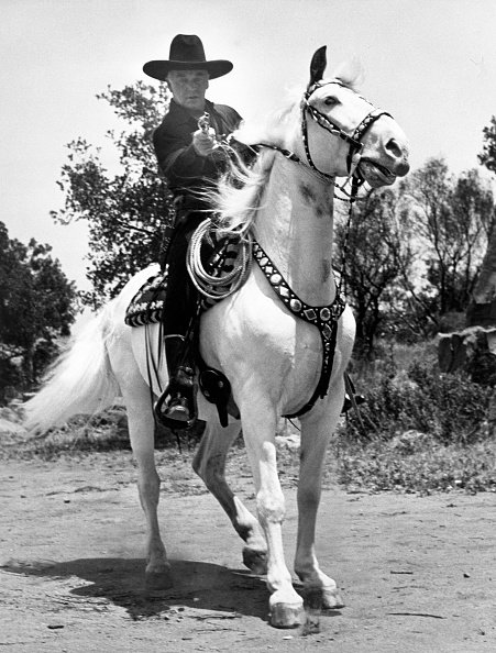 William Boyd is with his horse in Hollywood, Califonia, circa 1951. | Photo: Getty Images